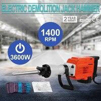 3600 w construção demolição jack martelo elétrico concreto disjuntor 2 cinzel bit
