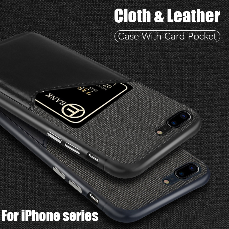Card Pocket Wallet Case for iPhone 7 iphone 8 Cases Luxury Cloth Fabric leather cover for iphone 6 6s 7 8 plus x xs max xr coque iPhone 8