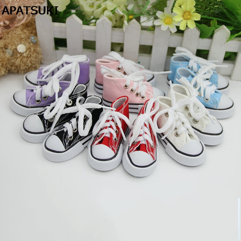 1Pair 7.5cm Canvas Shoes For 1/4 BJD Doll & Mini Doll Shoes For 16 Inch Sharon doll Boots Casual Shoes For American Girl Doll