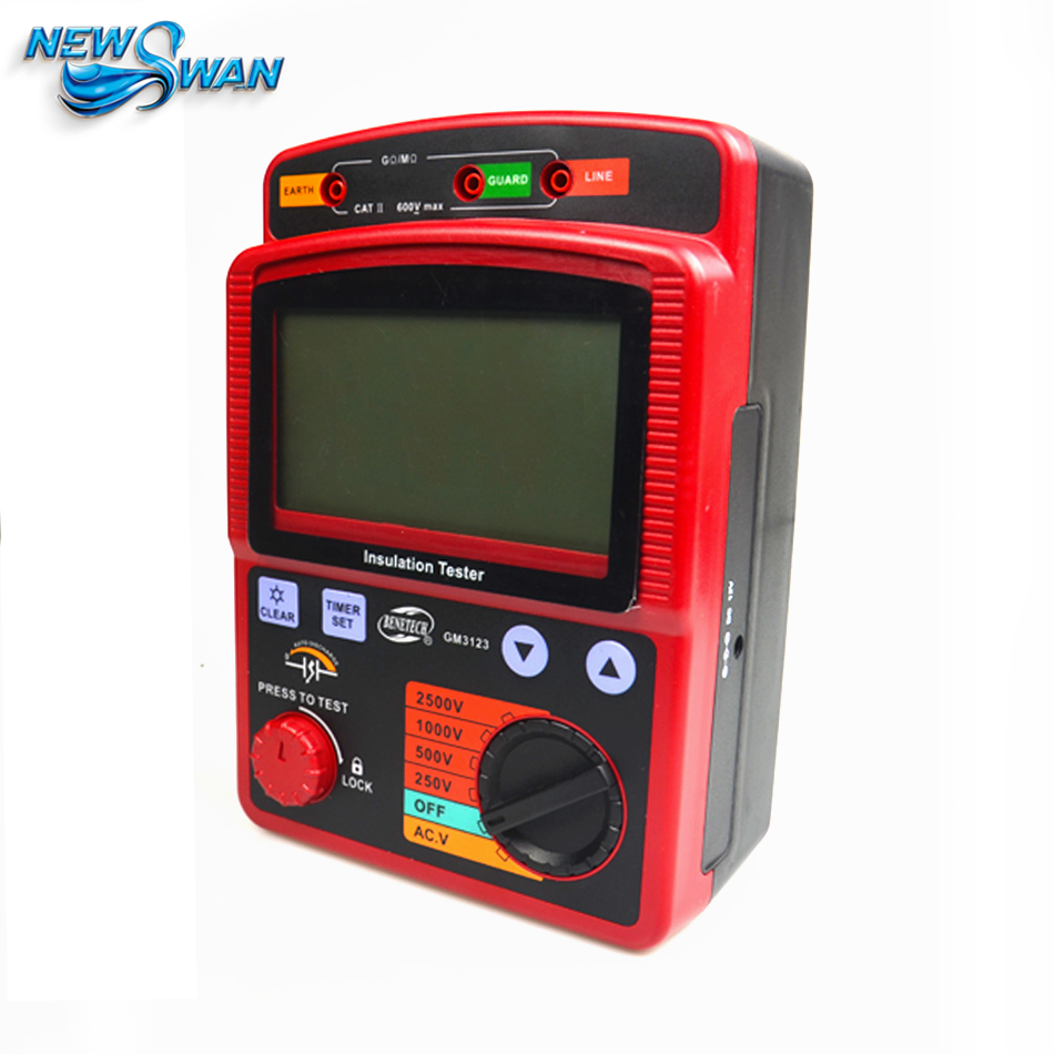 GM3123 High Voltage 2500V Digital Megohm Meter Ohm Meter High Tension Megger AC Voltage Insulation Resistance Tester