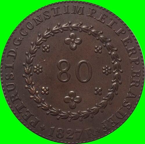 1827 Бразилия 80 Reis Монеты Скопируйте Бесплатная доставка 36 мм