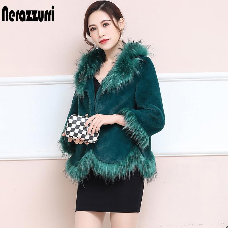 Nerazzurri Winter Faux Fur Jacket With Fox Fur Collar Short Furry Fake Rex Rabbit Fur Coats Women Large Size Green Fluffy Top
