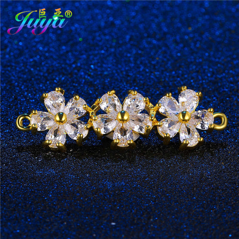 Juya DIY Jewelry Findings Supplies Handmade Flower Connectors Accessories For Women Fashion Bracelets Necklaces Earrings Making