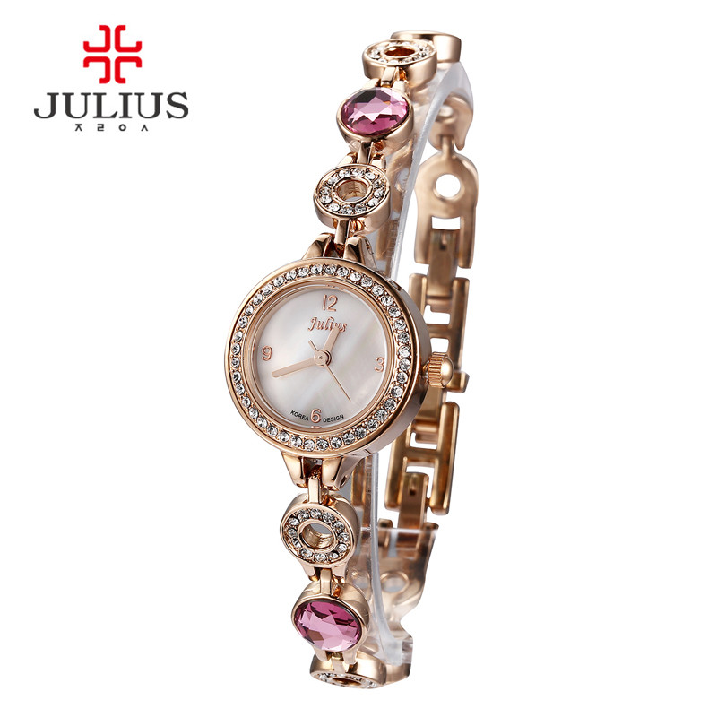 Top Julius Lady Women's Wrist Watch Fashion Hours Retro Crystal Rhinestone Bracelet Chain Business Shell Girl Birthday Gift top julius lady women s wrist watch elegant shell retro fashion hours bracelet leather girl birthday gift