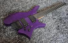Top Quality Low price GYHL-0008 Headless transparent purple Color Tiger stripes Ash wood back plate Guitar, Free shipping недорого