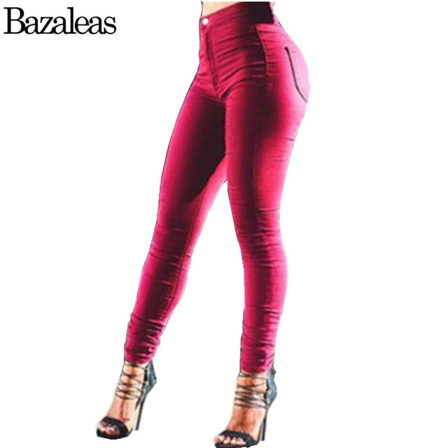 Bazaleas summer Style hip-lifting women high waist washed skinny pencil jeans Europe design popular casual pants