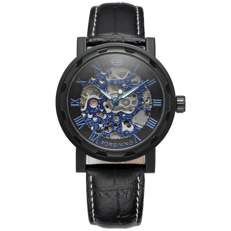 ساعة يد رجالية فاخرة من Forsining موضة 2019 ذات علامة تجارية فاخرة باللون الذهبي ساعة يد سوداء ذات هيكل عظمي ساعة ميكانيكية للرياح ساعات معصم ساعات جلدية