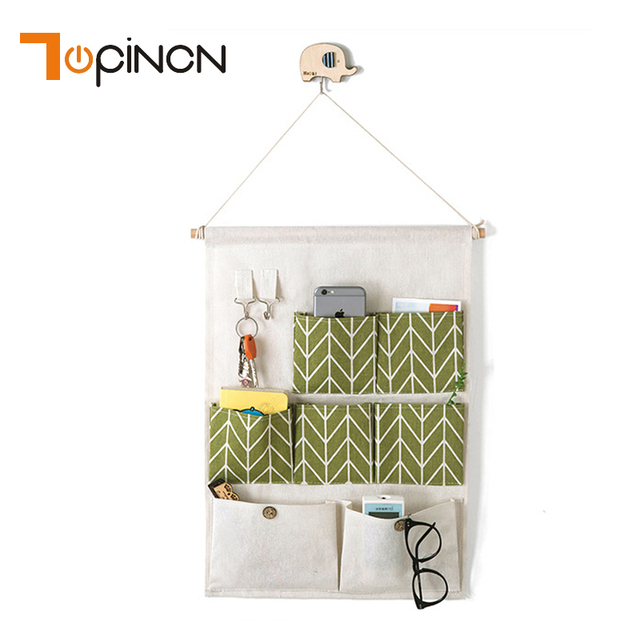 Delicieux 7 Pockets Cotton Linen Wall Hanging Storage Bags Door Pouch Bedroom Home  Office Organizer Sundries Storage