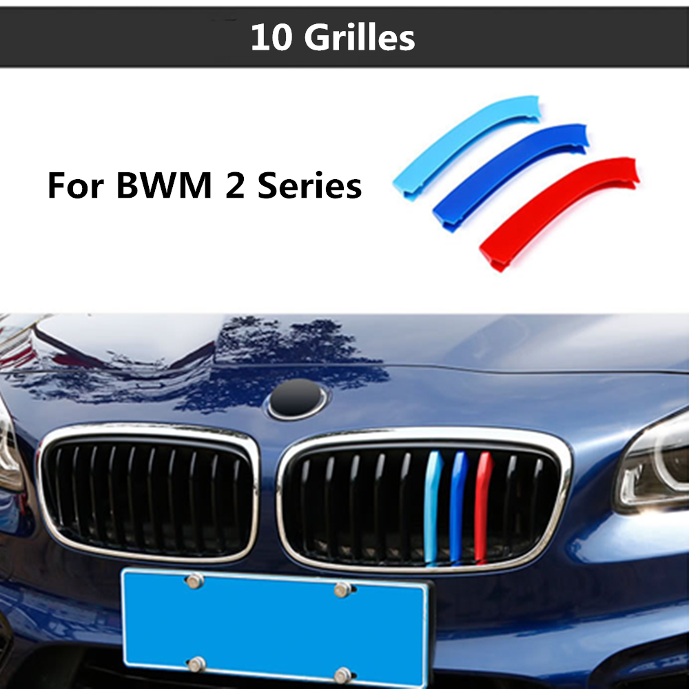 For BMW 2 Series Active Tourer F46 218i 220i 10 Grilles 3 colors 3D styling M Front Grille Trim Strips Grill Cover Stickers