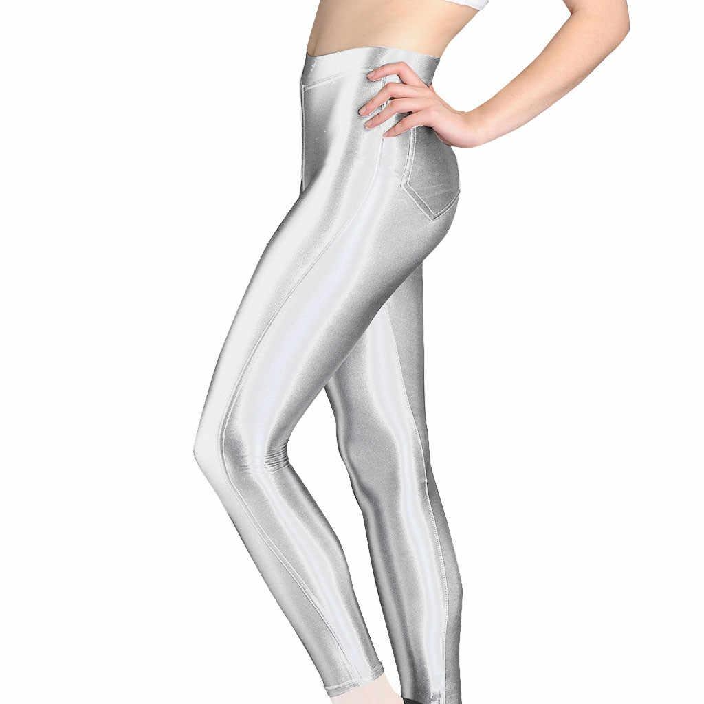 Push up leggings das mulheres brilhante de cintura alta estiramento esportes joggng calças workout fitness leggings sweatpants roupas