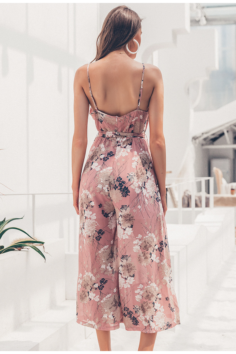 Simplee Bohemian floral print women jumpsuit Sexy v-neck spaghetti strap sashes jumpsuit romper Elegant ruffled female overalls 7