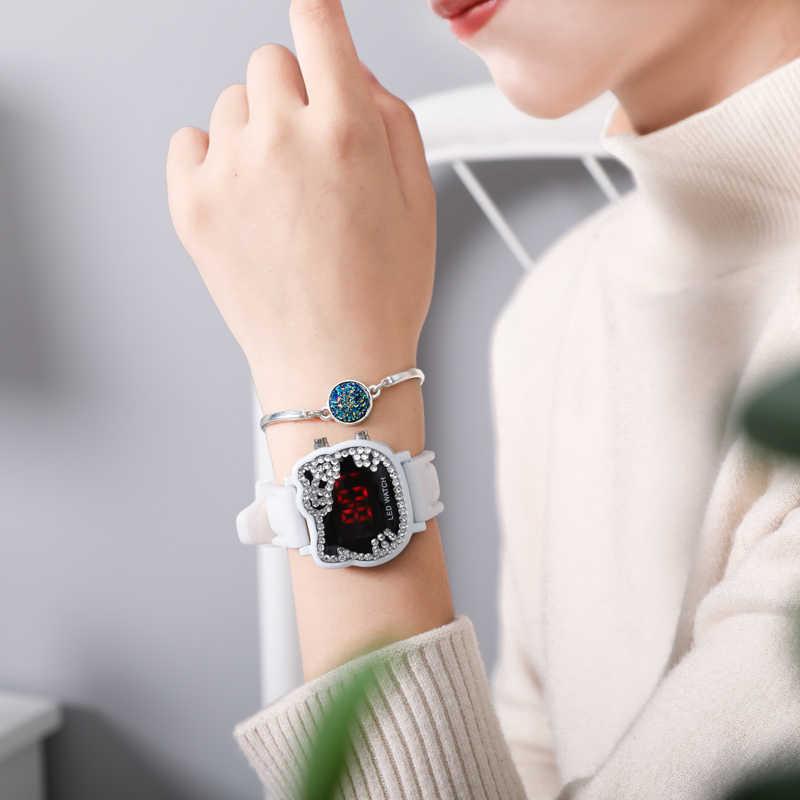 הלו קיטי ילדי Cartoon שעונים קיד בנות פסיפס קריסטל יהלומי סיליקון רצועת שעוני יד ילדי LED דיגיטלי שעונים