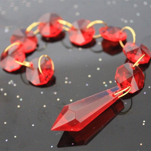 Pcslot Red Chandelier Glass Crystals Lamp Prisms Parts Icicle - Red chandelier crystals