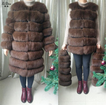 Real Natural Genuine Fox Fur Coat For Women Winter Warm Long Jacket Detachable Overcoat For Female With Pockets Zipper 161124-3