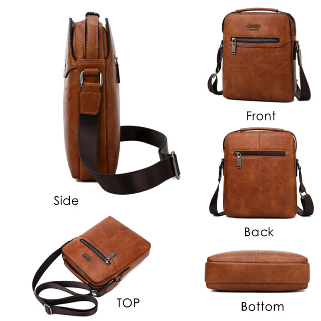 JEEP BULUO Men Bags High Quality 2019 New 2PC/Set Man's Messenger Shoulder Bag Fashion Split Leather Crossbody Bags For Men Tote