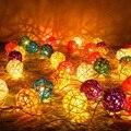 5 M/10 m LED Luces de Navidad Al Aire Libre de Interior de 5 cm Bolas de Ratán Decorativos Led Cadena Luces de Hadas Guirnalda Luces Led Para Fiestas