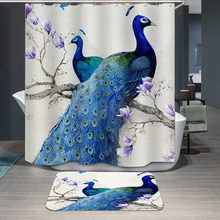 Waterproof Shower Curtain For Bathroom 3D Blue Peacock Elk Deer Bath Hooks Curtains In The
