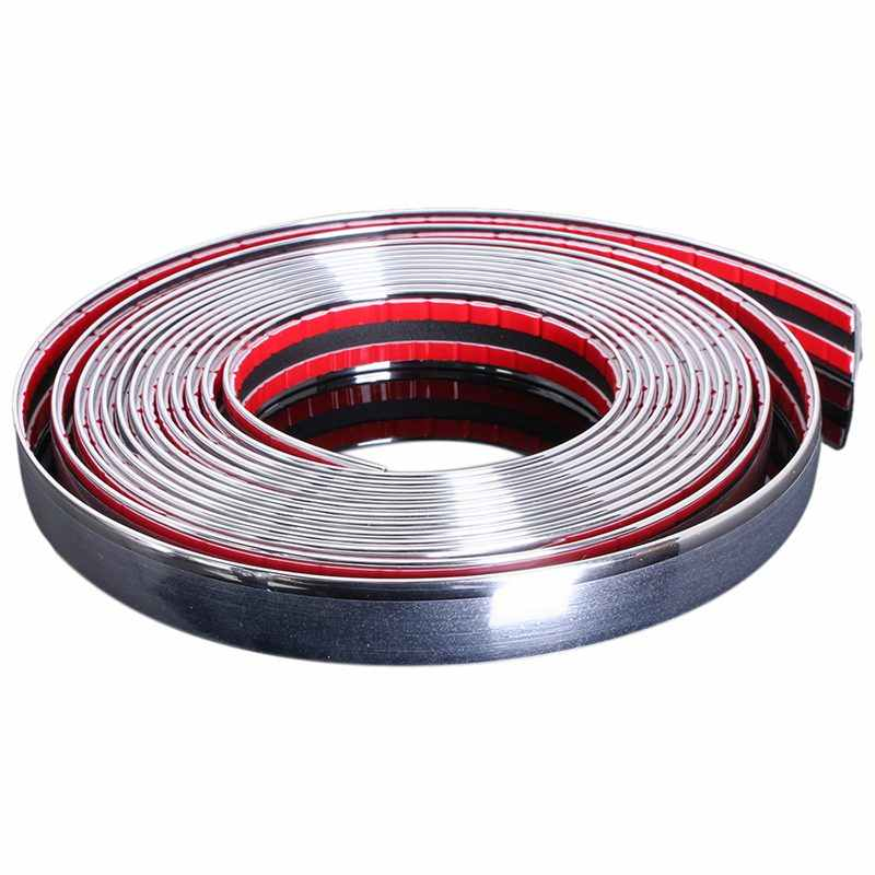20mm 5 m Chrome Auto Styling Moulding Strip Trim Zelfklevende Crash Protector Van