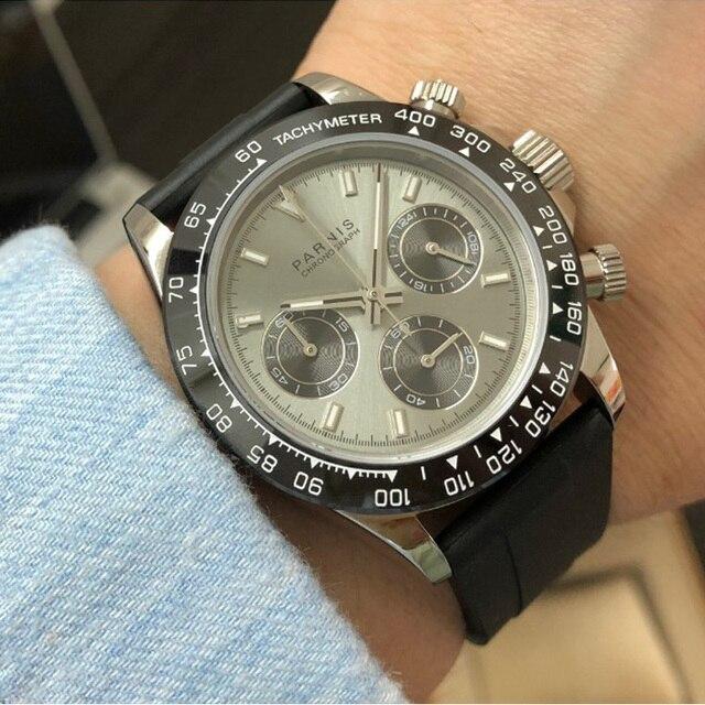 Nouveauté Parnis 39mm gris cadran Quartz hommes montres chronographe saphir cristal acier inoxydable bracelet lumineux montre-bracelet pour hommes