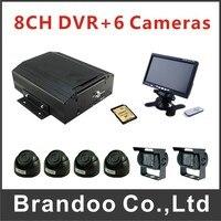 8CH Mobile DVR Car DVR 6 Car Camera 7 Inch LCD Monitor 64GB SD Card