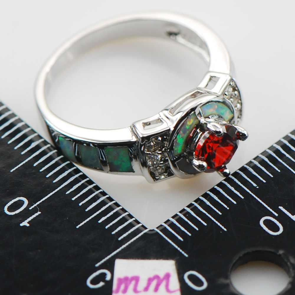 โกเมนสีขาวโอปอลแหวนเงิน925สเตอร์ลิงขนาด6 7 8 9 10 R1319