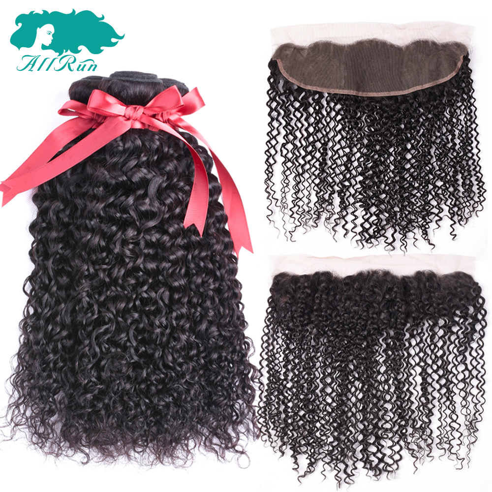 Allrun Malaysian Kinky Curly Bunldes With Closure 3 Pieces Human Hair Bundles With Lace Frontal Ear to Ear Non Remy Hair Weave