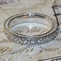 Excelente 3.5mm Lujo calidad NSCD diamante simulado completo de la vendimia anillo de la eternidad wedding band aniversario DR096 anillo Para El Partido