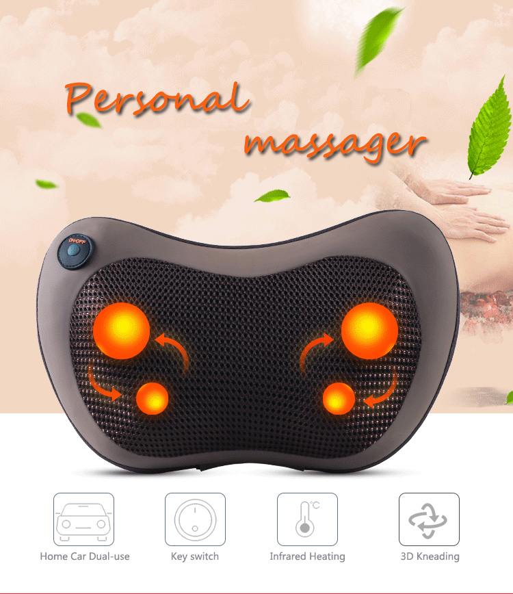 Electric Pillow Massager Multifunction Massage Pillow Cervical Lumbar Leg Neck Infrared Heating Body Massager Home Car Dual-use new design healthcare multifunction massager pillow automobiles relax cervical vertebrae leg home dual use infrared heating