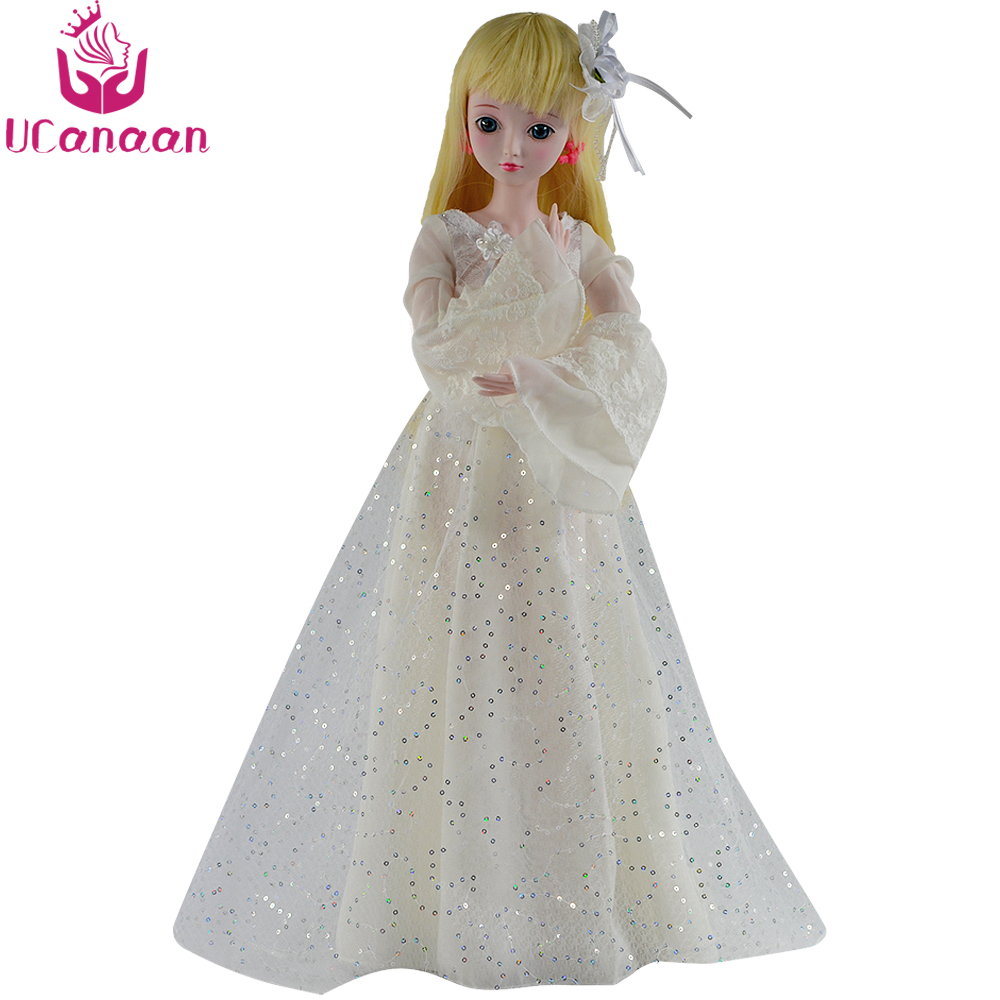 UCanaan 1/3 BJD SD Doll 24 19 Ball Jointed Dolls With Outfits White Dress Shoes Wig Makeup Girls DIY Dressup Toys ucanaan 1 3 bjd dolls beauty sd doll 19 ball jointed with full outfits makeup dressup dolls children toys for girls
