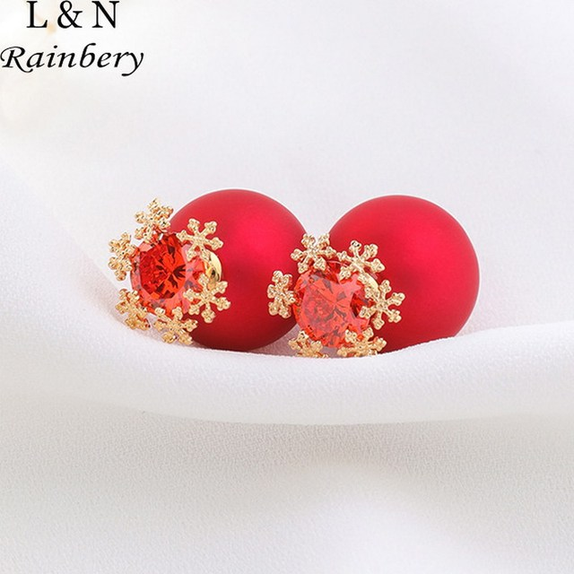 Rainbery Fashion Double Sides Simulated Red Pearl Earrings Brand Gold Color Snowflake Crystal Stud Earring Jewelry
