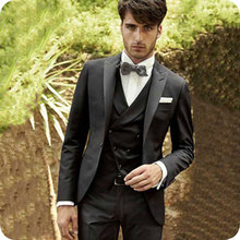 Latest Coat Pants Vest 3Piece Black Men Suits for Wedding Italian Groom Tuxedos Costume Homme Slim Fit Terno Masculino Prom Suit