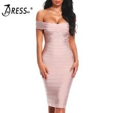 INDRESSME Sexy Off Shoulder Women Bandage Dress Elegant Slash Neck Knee Length Bodycon Backless Party Dress Vestidos 2020 New
