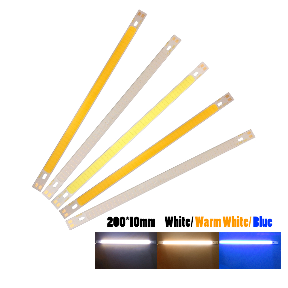10pcs Cob Chips 200*10mm Led Light Source 12v 10w Diode Strip Lamp For Diy Lighting Project Car White/warm White/bule Bulb Jq Agreeable Sweetness