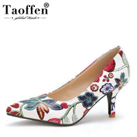 TAOFFEN Large Size 33 45 Women'S High Heels Pumps Embroidery Flowers Chinese Style Slip On Pointed Toe Pumps Shoes Women