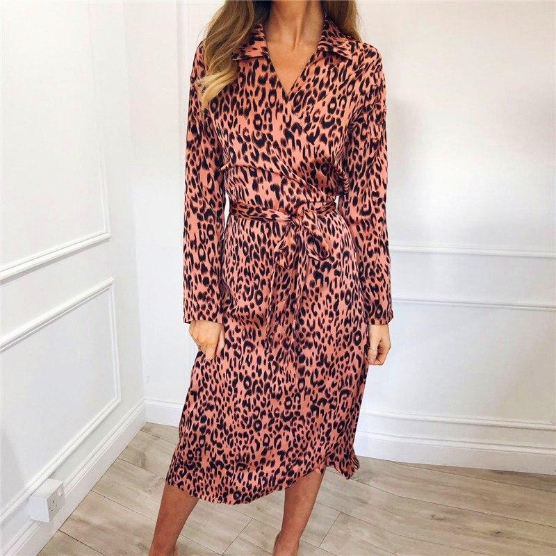 Print Dress Chiffon Summer Vintage Leopard 2019 Casual Women SBAWY