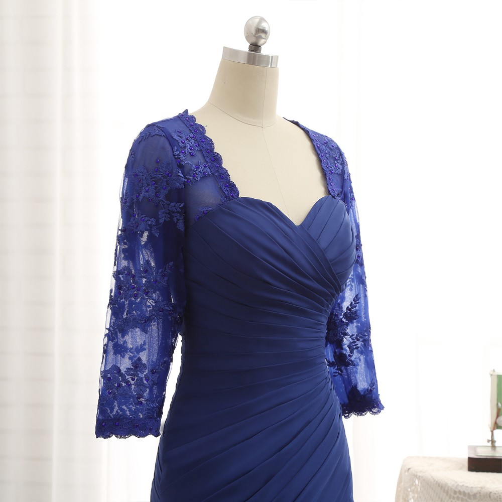 Plus Size Royal Blue 2017 Mother Of The Bride Dresses Mermaid 3/4 Sleeves Lace Long Evening Dresses Mother Dresses For Wedding 7