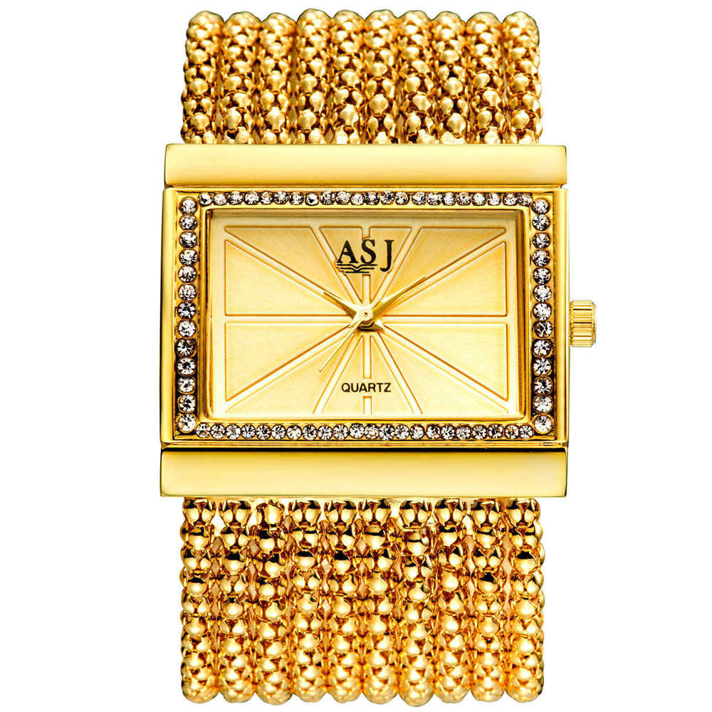ASJ Brand Lady Bracelet Watches Women Luxury Fashion Casual Wristwatch Clock Dress Quartz Wrist watch Gold Relogio Feminino binger genuine gold automatic mechanical watches female form women dress fashion casual brand luxury wristwatch original box