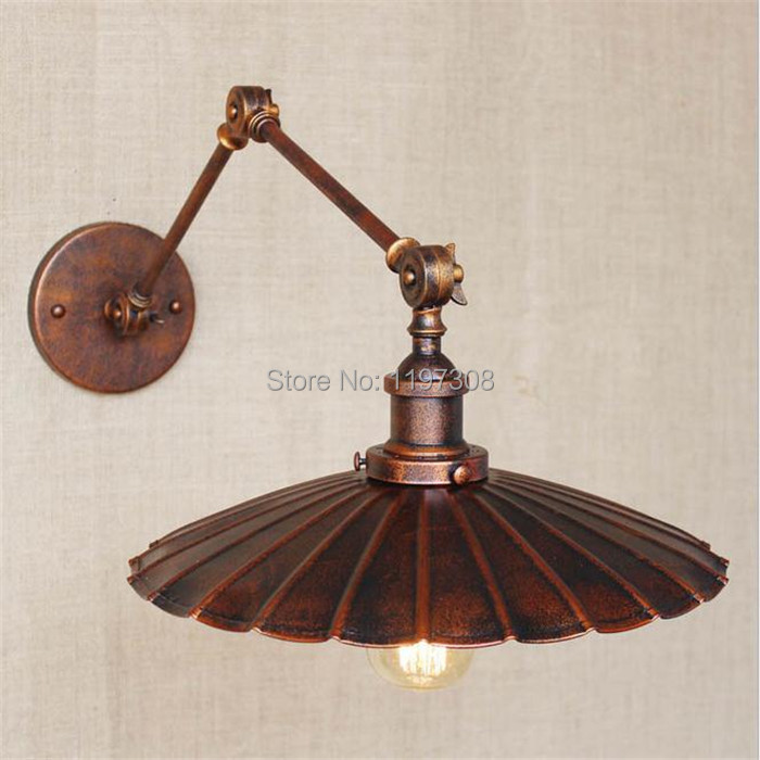 ФОТО Industrial air ferruginous high-grade decoration vintage old Bedside lighting mechanical length  large Wall lamp