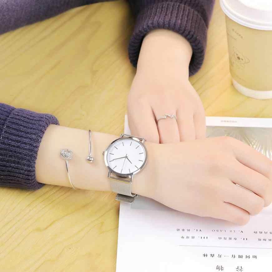 Vansvar גבירותיי יד שעונים מקרית קוורץ רוז זהב רשת נירוסטה להקת שיש רצועת שעון אנלוגי שעון יד לנשים