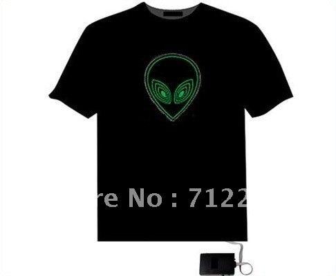 Wholesale New LED T-Shirt Sound Activated Animated Panel Flashing Equalizer EL Led T-Shirt for Men Free Shipping 10pcs/lot