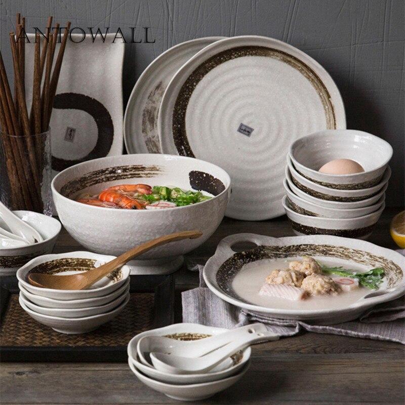 ANTOWALL japonais encre peinture multi-personnes en céramique vaisselle ensemble maison riz soupe bol steak plat plat plat ensemble