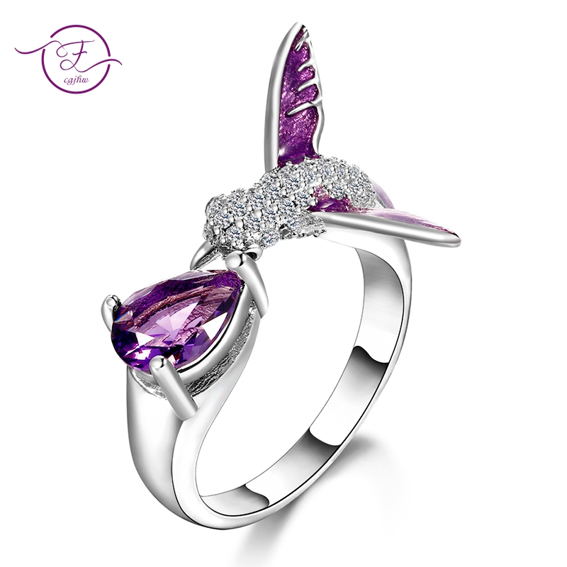 Original Bird Design Purple Amethyst Adjustable Open Rings For Women Top Quality Fashion 925 Silver Jewelry Bohemia Wedding Ring