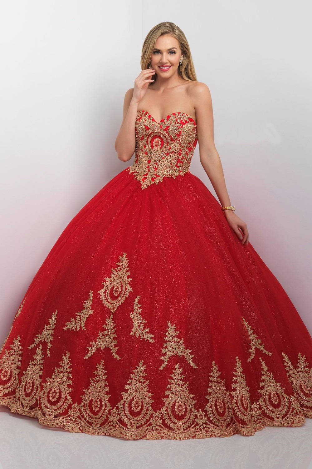 Red and quinceanera gold dresses