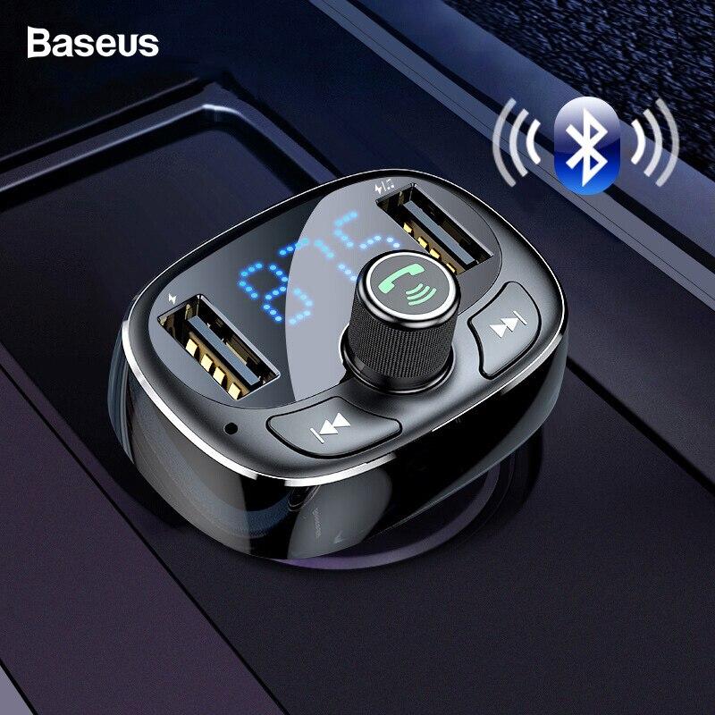 Baseus fm transmissor aux modulador bluetooth 4.2 usb carregador de carro kit handsfree áudio mp3 player 3.4a rápido carregador do telefone móvel