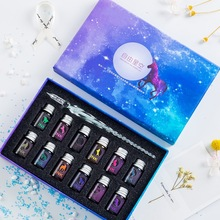JUGAL Transparent Glass Pen Starry Sky Dip Pen Glitter Powder Pen Ink