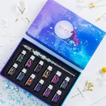 JUGAL Transparent Glass Pen Starry Sky Dip Glitter Powder Ink Gift Box Set Writing Instrument Fountain