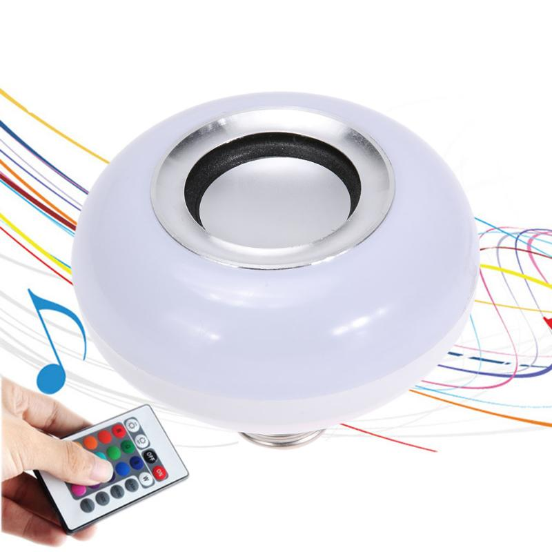 E27 RGB Bulb 85-265V Wireless Remote Control Bluetooth Speaker Bulb Music Playing Lamp Light Color Changing Bulb Stage Light smuxi e27 led rgb wireless bluetooth speaker music smart light bulb 15w playing lamp remote control decor for ios android