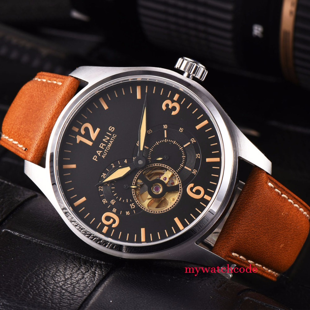 44mm parnis black dial orange date 21 jewels miyota automatic mens watch P817B все цены