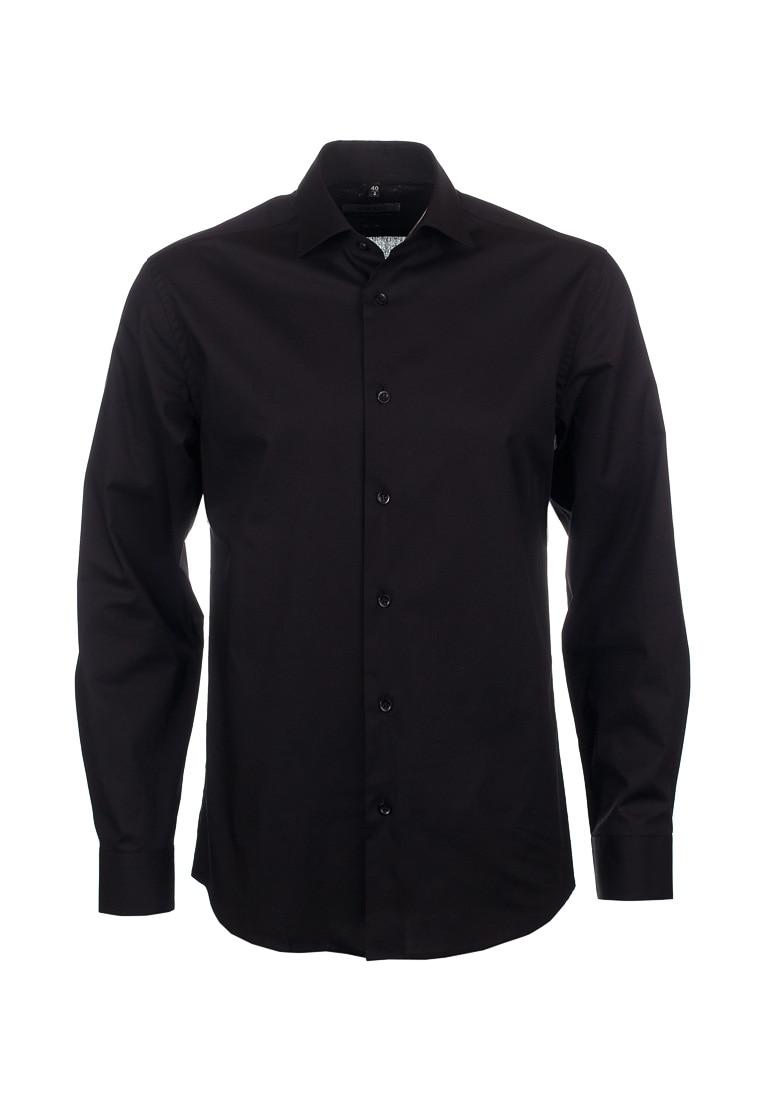 Shirt men's long sleeve GREG 340/131/ZV STRETCH_GB Black arsuxeo men s cycling polyester spandex long sleeve jacket black fluorescent green l
