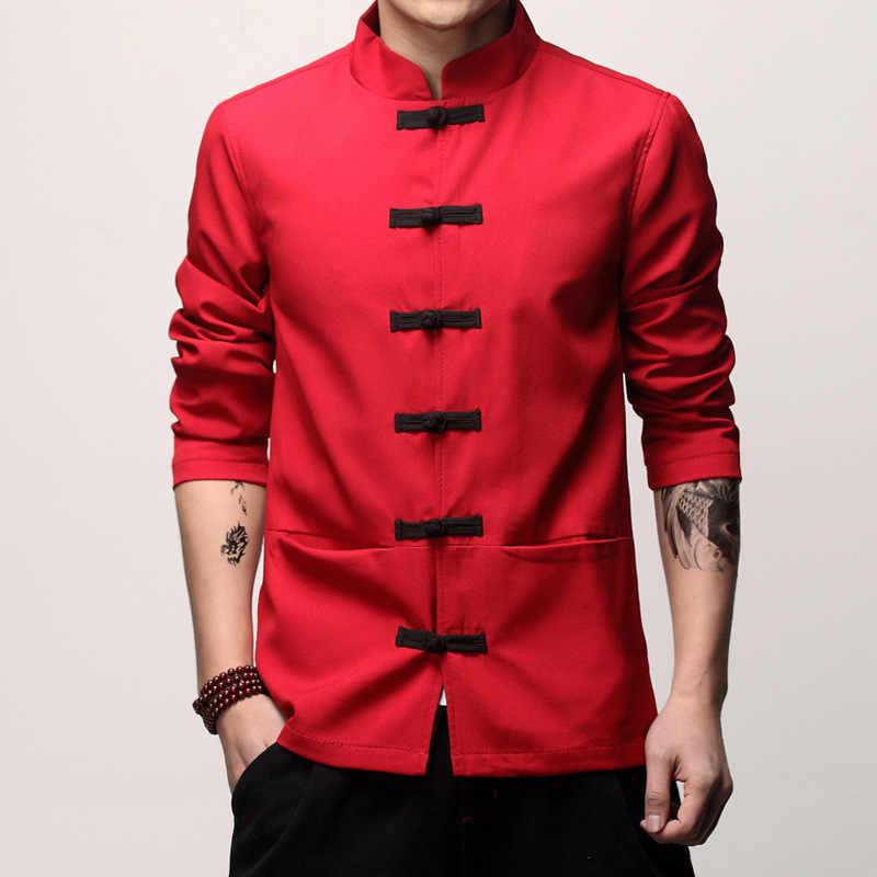 メンズ繁体字中国語服春秋固体唐のスーツの男性カンフー太極拳マスター衣装男性はジャケット CN-003